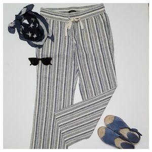 Ann Taylor Linen Wide Leg Stripe Beach Pants SP